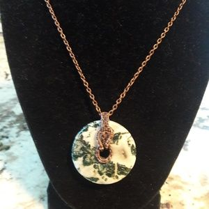 Jewelry - Hand Wrapped Copper Wire Pendant-Tree Agate